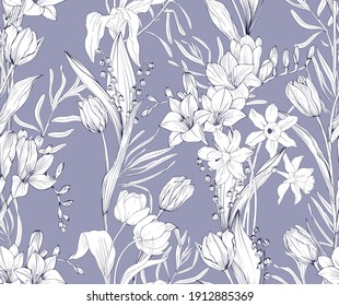 Floral pattern with beautiful garden flowers, tulips, lilies of the valley, daffodils, freesia. Vector seamless background.