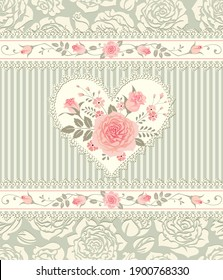 Floral pattern with bouquet of roses in shape of heart lace frame. Seamless ornamental vector background for greeting card, fabric, gift wrap, digital paper, fills, etc.