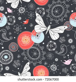 floral pattern with butterflies and birds