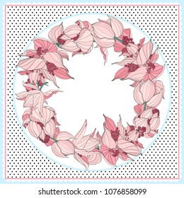 Floral pattern, can use be for shawl, decor, fabric.Vector illustration. Great for menu, banner, label, logo, flyer