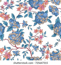 Floral pattern in chinese embroidery style. Flower seamless background. Flourish ornamental garden