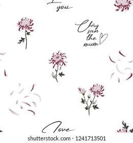 Images Of Pink Flowers With Quotes Stock Photos Vectors Vintage Story Flower Japanese Chrysantemum 2 Floral Pattern Chrysanthemum And Petals Vector Seamless Background White