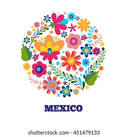 Floral pattern in a circle Mexican ethnic motive. Banner design template with flowers. Unique floral design concept for beauty salon, organic cosmetics brand, flower shop