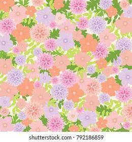 Floral Pattern Colorful Background - Vector Illustration EPS10