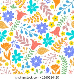 Floral pattern with colorful flowers and leaves on white background.