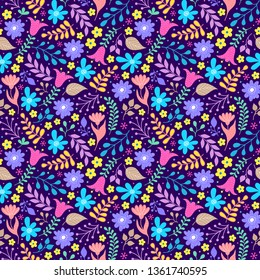 Floral pattern with colorful flowers and leaves on dark background.