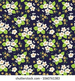 Floral pattern. Cute flowers on dark blue background. Printing with small white and yellow flowers. Ditsy print. Seamless vector texture. Spring field.