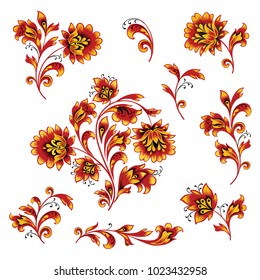 Floral pattern decor element set. Ornamental flower branch collection over white background. Russian folk ethnic floral ornament.