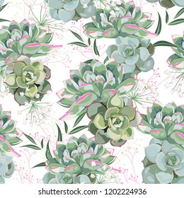 Floral pattern, delicate flower wallpaper, white herbs and green pink succulent. Delicate feminine pattern on the white background.