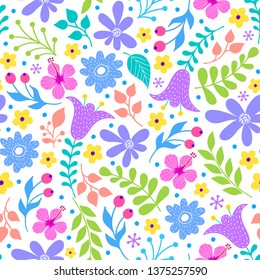 Floral pattern with flowers and leaves on white background.