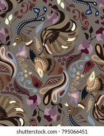Floral pattern with gold birds. Vintage luxury design. Perfect for fabric, cards, books, magazines etc