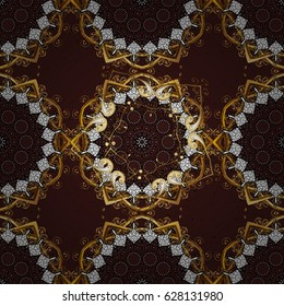 Floral pattern. Golden elements on brown background. Vector background. Stylish graphic pattern. Wallpaper baroque, damask.