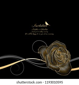 Floral pattern with golden flower rose. Hand-drawing vector illustration.