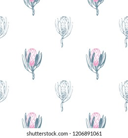 Floral pattern with green protea flowers: filled and outline. Seamless background for fabric design. Cute and beautiful vector illustration on white backdrop.