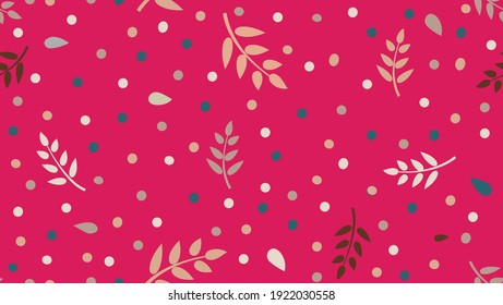 Floral pattern with  leaves and dots in minimal childihs style. Abstract seamless festive background. Flourish ornamental garden with polka dot ornament.