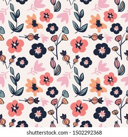 Floral pattern with leaves and flowers.
