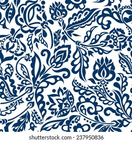 Floral pattern with leaves and flowers, decorative motive. Vector illustration.