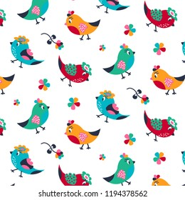 Floral pattern with little birds, leaves and flowers.