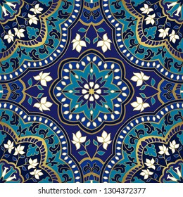 Floral pattern with mandala. Seamless filigree ornament. Blue template for wallpaper, textile, shawl, carpet.