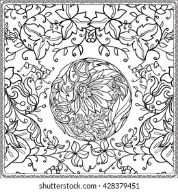 Floral pattern in middle ages style. Coloring book for adult and older children. Coloring page. Outline drawing. Vector illustration.