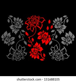 Floral Pattern on a Black Background