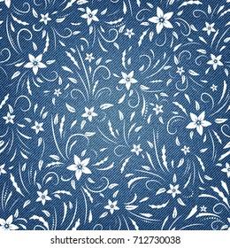 Floral pattern on denim background.