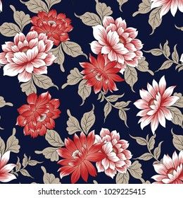 floral pattern  on navy