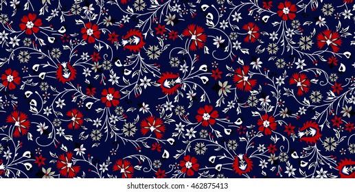 floral pattern on navy blue background
