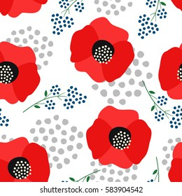 Floral pattern on white background. Cute red poppies with decorative dots seamless background. Fashion design for fabric, wallpaper, textile and decor.