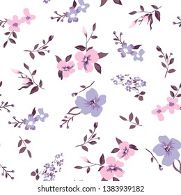floral pattern on white with a variety of flowers fashion design,fabric print