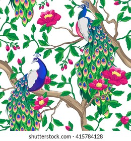 Floral pattern with peacock sitting on a tree with pink flowers.