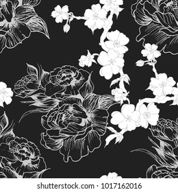 Floral pattern peony and sakura  hand drawn flower , in vector,  wallpaper, textile, fabric