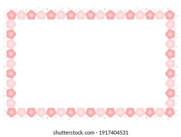 Floral pattern of Plum blossom. Decorative frame. Vector background illustration.