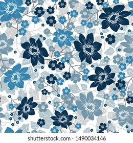 Floral pattern. Pretty blue flowers on white background. Printing with small grey and blue flowers. Ditsy print. Seamless vector texture. For fabric, invitations, paper.