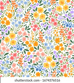 Floral pattern. Pretty flowers on white background. Printing with small colorful flowers. Ditsy print. Seamless vector texture. Spring bouquet.