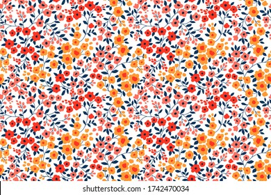 Floral pattern. Pretty flowers on white background. Printing with small orange, red and pink flowers. Ditsy print. Seamless vector texture. Spring bouquet.