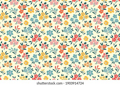 Floral pattern. Pretty flowers on white background. Printing with small colorful flowers. Ditsy print. Seamless vector texture. Spring bouquet. Stock vector.