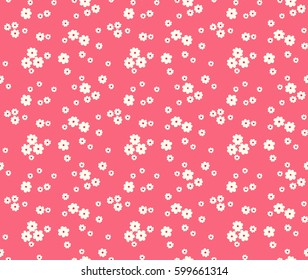 Floral pattern. Pretty flowers on red background. Printing with Small-scale white flowers. Ditsy style print. Seamless vector texture