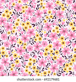Floral pattern. Pretty flowers on dark white background. Printing with small pink and yellow flowers. Ditsy print. Seamless vector texture. Spring bouquet.