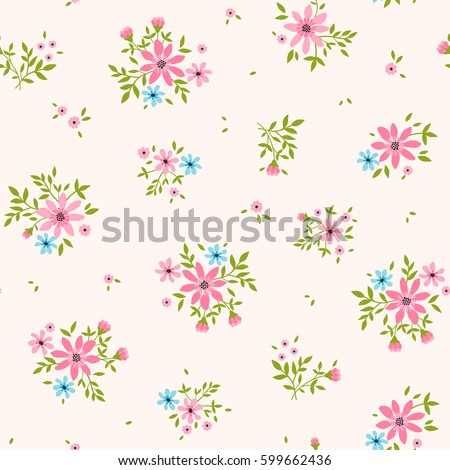 Floral pattern pretty flowers on light stock vector royalty free floral pattern pretty flowers on light pink background printing with small scale pink mightylinksfo