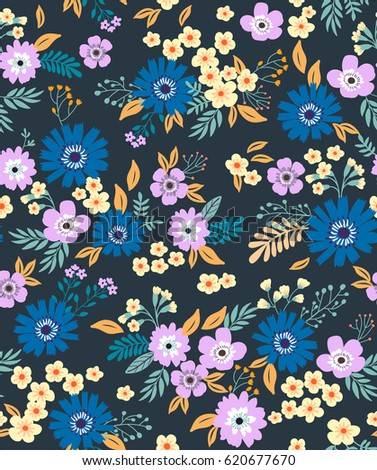 Floral Pattern Pretty Flowers On Dark Stock Vector Royalty Free