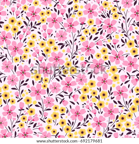 Floral pattern pretty flowers on dark stock vector royalty free floral pattern pretty flowers on dark white background printing with small pink and yellow mightylinksfo