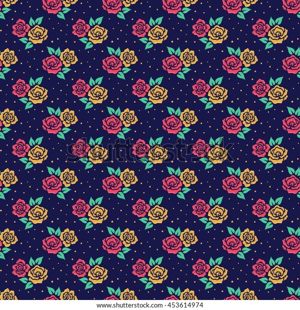Floral pattern in retro style. Seamless background with cute hand drawn flowers. Vector illustration.