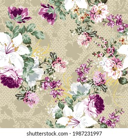 floral pattern with roses and small flowers, for textiles and decoration with vintage flower design