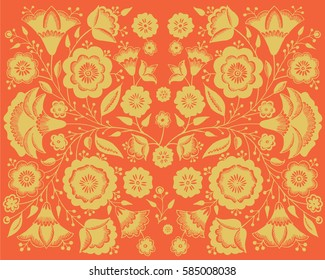 Floral pattern in Russian style. Golden flowers on red background.