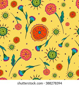 Floral pattern seamless. Abstract hand-drawn flowers on a yellow background. Vector illustration.