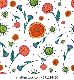 Floral pattern seamless. Abstract hand-drawn flowers on white background. Vector illustration.