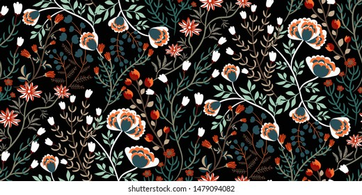 Floral pattern. Seamless background with different kinds of fabulous flowers, herbs, leaves on dark background. Beautiful Botanical texture, fashion print in orange, red, green colors. Vector.