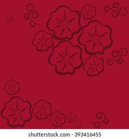 Floral pattern seamless. Burgundy flowers on a dark red background. Vector illustration.