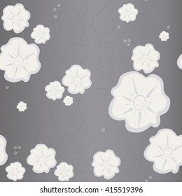 Floral pattern seamless. Grayish-violet background. Vector illustration.